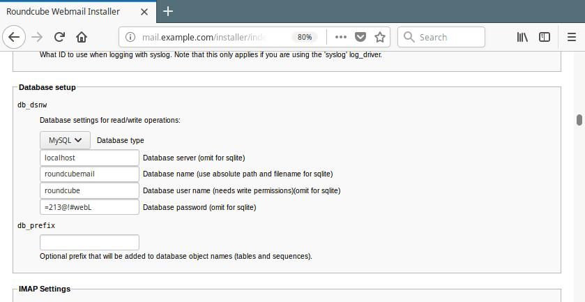 Roundcube Database Settings