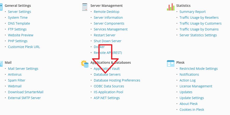 Update Database Administrator Credentials in Plesk panel